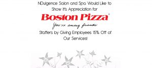 NDulgence and Boston Pizza Flyer Sample